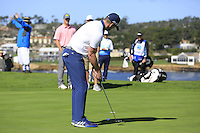 Green Bay Packers NFL quarterback Aaron Rodgers putts on the 6th green at Pebble Beach Golf Links during Saturday's Round 3 of the 2017 AT&amp;T Pebble Beach Pro-Am held over 3 courses, Pebble Beach, Spyglass Hill and Monterey Penninsula Country Club, Monterey, California, USA. 11th February 2017.<br /> Picture: Eoin Clarke | Golffile<br /> <br /> <br /> All photos usage must carry mandatory copyright credit (&copy; Golffile | Eoin Clarke)