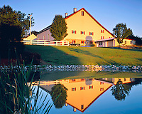 Summer Sunrise Barn Reflection, Amish Country of Lancaster, Pennsylvania