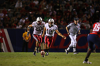 20 October 2007: Stanford Cardinal Derek Belch (12) and Clinton Snyder (20) during Stanford's 21-20 win against the Arizona Wildcats at Arizona Stadium in Tucson, AZ.