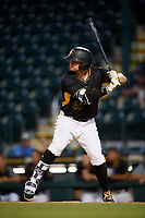 Bradenton Marauders first baseman Albert Baur (23) at bat during a game against the Dunedin Blue Jays on May 2, 2018 at LECOM Park in Bradenton, Florida.  Bradenton defeated Dunedin 6-3.  (Mike Janes/Four Seam Images)