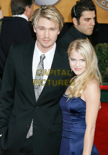 CHAD MICHAEL MURRAY & KENZIE DALTON.Red Carpet Arrivals - 13th Annual Screen Actors Guild (SAG) Awards, held at the Shrine Auditorium, Los Angeles, California, USA, 28 January 2007..half length strapless blue dress black silver pattrened tie.CAP/ADM/RE.©Russ Elliot/AdMedia/Capital Pictures.