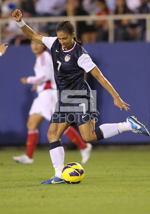 BOCA RATON, FL - DECEMBER 15, 2012: Shannon Boxx (7) of the USA WNT against China WNT during an international friendly match at FAU Stadium, in Boca Raton, Florida, on Saturday, December 15, 2012. USA won 4-1.
