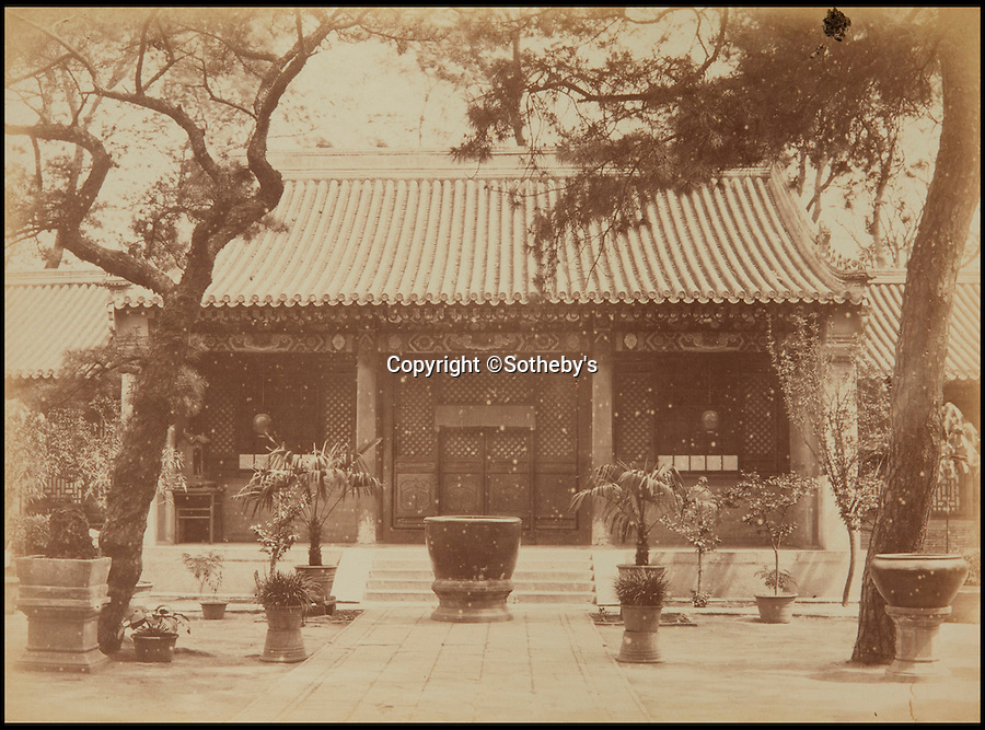 BNPS.co.uk (01202 558833)<br /> Pic: Sotheby's/BNPS<br /> <br /> French legation, Beijing.<br /> <br /> A collection of rare early photographs capturing day-to-day life in China 150 years ago are set to sell for £80,000. <br /> <br /> The stunning album, comprising 41 black and white images of Beijing, depicts an array of busy street scenes and portraits of inhabitants from all walks of life. <br /> <br /> The pictures show chess players deep in concentration, musicians entertaining on the side of the road as well as striking images of the city's historically important architecture.