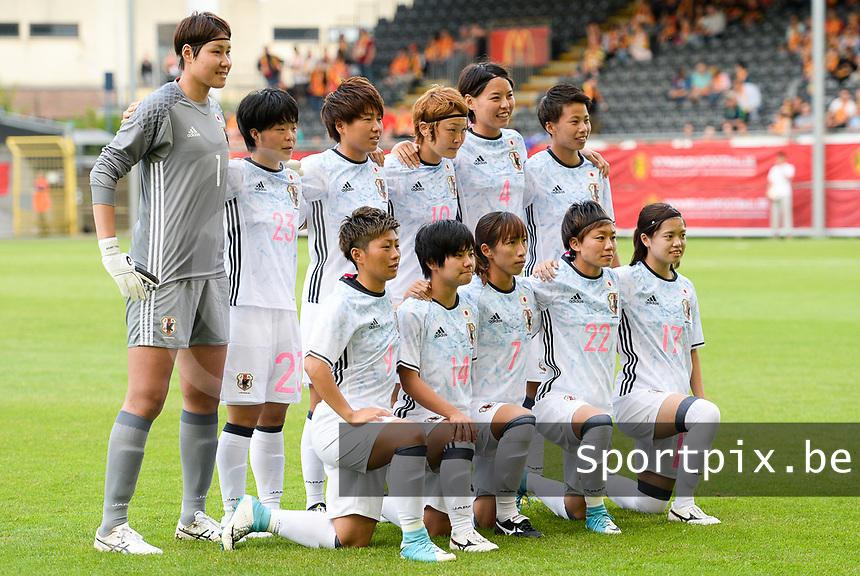 20170613 - LEUVEN ,  BELGIUM : Japanese team pictured with Erina Yamane (1) , Hikari Takagi (2) , Saki Kumagai (4) , Emi Nakajima (7) , Kumi Yokoyama (9) , Mizuho Sakaguchi (10) , Mina Tanaka (11) , Yu Nakasato (14) , Yui Hasegawa (17) , Ami Sugita (22) , Nana Ichise (23) during the friendly female soccer game between the Belgian Red Flames and JAPAN , a friendly game in the preparation for the European Championship in The Netherlands 2017  , Tuesday 13 th June 2017 at Stadion Den Dreef  in Leuven , Belgium. PHOTO SPORTPIX.BE | DAVID CATRY