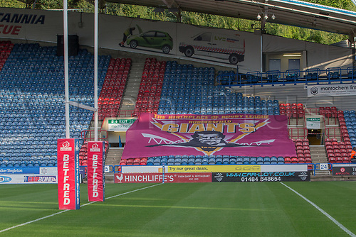 1st September 2017, John Smiths Stadium, Huddersfield, England; Betfred Super League, Super 8s; Huddersfield Giants versus Castleford Tigers; Huddersfield fan's set their lucky flag out with high hopes of a win