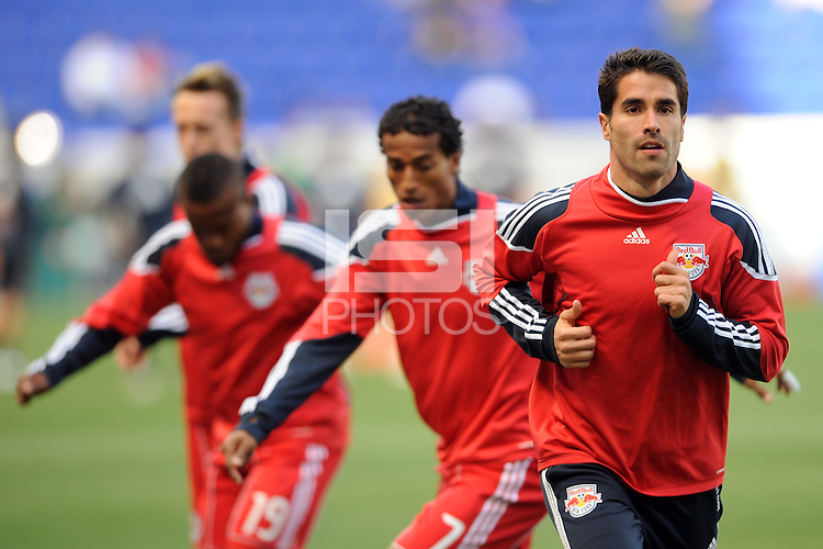 Juan Pablo Angel (9) of the New York Red Bulls during pre-game warm ups. The New York Red Bulls defeated the Philadelphia Union 2-1 during a Major League Soccer (MLS) match at Red Bull Arena in Harrison, NJ, on April 24, 2010.