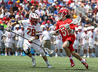 Annapolis, MD - May 20, 2018: Cornell Big Red a Jeff Teat (51) is being chased by Maryland Terrapins Matt Neufeldt (28) during the quarterfinal game between Maryland vs Cornell at  Navy-Marine Corps Memorial Stadium in Annapolis, MD.   (Photo by Elliott Brown/Media Images International)