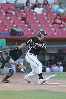 Kevin Torres (26) of the High Desert Mavericks bats during a game against the San Jose Giants at Mavericks Stadium on June 14, 2015 in Adelanto, California. High Desert defeated San Jose, 7-5. (Larry Goren/Four Seam Images)