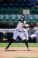 Bradenton Marauders Oneil Cruz (13) bats during a Florida State League game against the St. Lucie Mets on July 28, 2019 at LECOM Park in Bradenton, Florida.  Bradenton defeated St. Lucie 7-3.  (Mike Janes/Four Seam Images)
