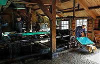 Nederland Westzaan 2017.    De Schoolmeester te Westzaan is de laatste papiermolen ter wereld die op windkracht functioneert. De molen werd oorspronkelijk in 1692 gebouwd en is tegenwoordig nog dagelijks in gebruik. Er wordt op ambachtelijke wijze Zaansch Bord, een papiersoort, vervaardigd. De eigenaar is sinds 1976 de Vereniging De Zaansche Molen. De Papiermachine.  Foto mag niet voor reclame doeleinden worden gebruikt.   Foto Berlinda van Dam / Hollandse Hoogte