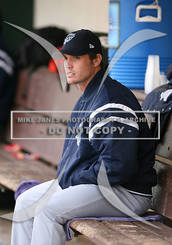 April 15th 2007:  Shaun Babula of the Charlotte Knights looks to the scoreboard during a game vs. the Rochester Red Wings during International League baseball action.  Photo copyright Mike Janes Photography 2007.