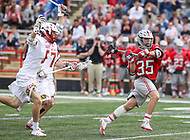 College Park, MD - April 22, 2018: Ohio State Buckeyes Logan Maccani (35) attempts a shot during game between Ohio St. and Maryland at  Capital One Field at Maryland Stadium in College Park, MD.  (Photo by Elliott Brown/Media Images International)