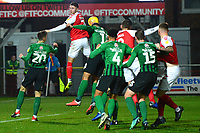 Fleetwood Town's Wes Burns competes in the air<br /> <br /> Photographer Richard Martin-Roberts/CameraSport<br /> <br /> The EFL Sky Bet League One - Fleetwood Town v Coventry City - Tuesday 27th November 2018 - Highbury Stadium - Fleetwood<br /> <br /> World Copyright &not;&copy; 2018 CameraSport. All rights reserved. 43 Linden Ave. Countesthorpe. Leicester. England. LE8 5PG - Tel: +44 (0) 116 277 4147 - admin@camerasport.com - www.camerasport.com