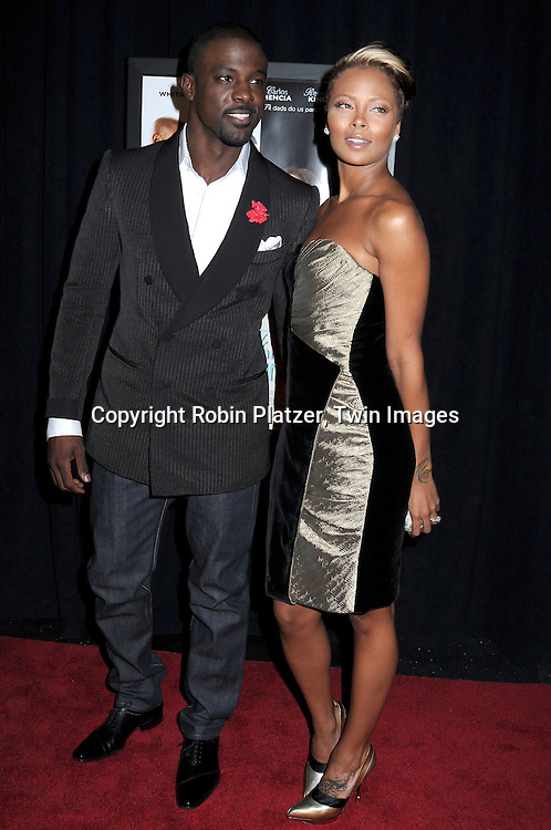 """actor Lance Gross and fiancee Eva Marcille attending The screeening of """"Our Family Wedding"""" on March 9, 2010 at The Loews Lincoln Square Theatre in New York City."""