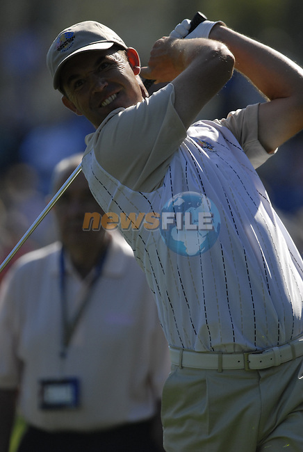 European Team member  Padrag Harrington takes his 2nd shot on the 12th hole during Practice Day1 of the 37th Ryder Cup at Valhalla Golf Club, Louisville, Kentucky, USA, 17th September 2008 (Photo by Eoin Clarke/GOLFFILE)