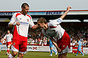 David Bridges of Stevenage Borough celebrates scoring the first goal with Michael Bostwick during the Blue Square Premier match between Stevenage Borough and York City at the Lamex Stadium, Broadhall Way, Stevenage on Saturday 24th April, 2010..© Kevin Coleman 2010 ..