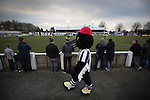 The home club mascot Victory the Magpie walking round the terrace at Victory Park, as Chorley played Altrincham (in yellow) in a Vanarama National League North fixture. Chorley were founded in 1883 and moved into their present ground in 1920. The match was won by the home team by 2-0, watched by an above-average attendance of 1127.