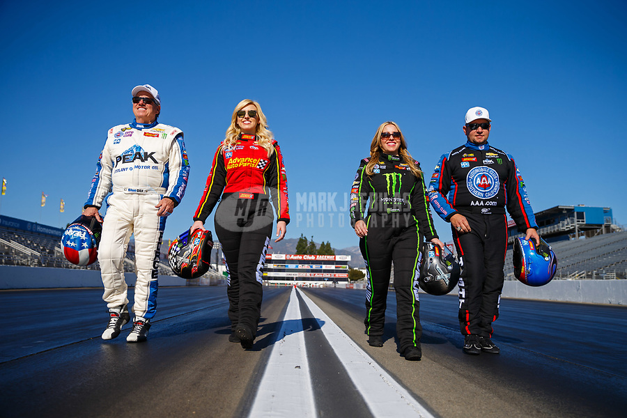 Feb 7, 2018; Pomona, CA, USA; NHRA drivers (from left) John Force , Courtney Force , Brittany Force and Robert Hight pose for a portrait during media day at Auto Club Raceway at Pomona. Mandatory Credit: Mark J. Rebilas-USA TODAY Sports