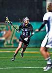 28 April 2012: University at Albany Great Dame defender Jenn Primeau, a Senior from Niskayuna, NY, in action against the University of Vermont Catamounts at Virtue Field in Burlington, Vermont. The Lady Danes defeated the Lady Cats 12-10 in America East Women's Lacrosse. Mandatory Credit: Ed Wolfstein Photo