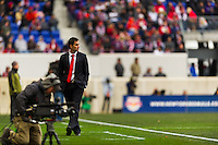 New York Red Bulls head coach Mike Petke during the first half of a Major League Soccer (MLS) match against D. C. United at Red Bull Arena in Harrison, NJ, on March 16, 2013.