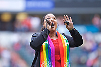 Portland, OR - Saturday June 17, 2017: National Anthem singer during a regular season National Women's Soccer League (NWSL) match between the Portland Thorns FC and Sky Blue FC at Providence Park.