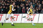 Nederland, Rotterdam, 31 maart 2012.Eredivisie.Seizoen 2011-2012.Feyenoord-NAC Breda.Omer Bayram van NAC Breda juicht nadat hij de 1-1 heeft gescoord. Links Jordy Buijs van NAC Breda