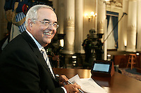Quebec City, March 13, 2007 ?Jacques Moisan gets ready for the debate between Jean Charest, Mario Dumont and André Boisclair at National Assembly March 13, 2007. Moisan acts as the moderator.