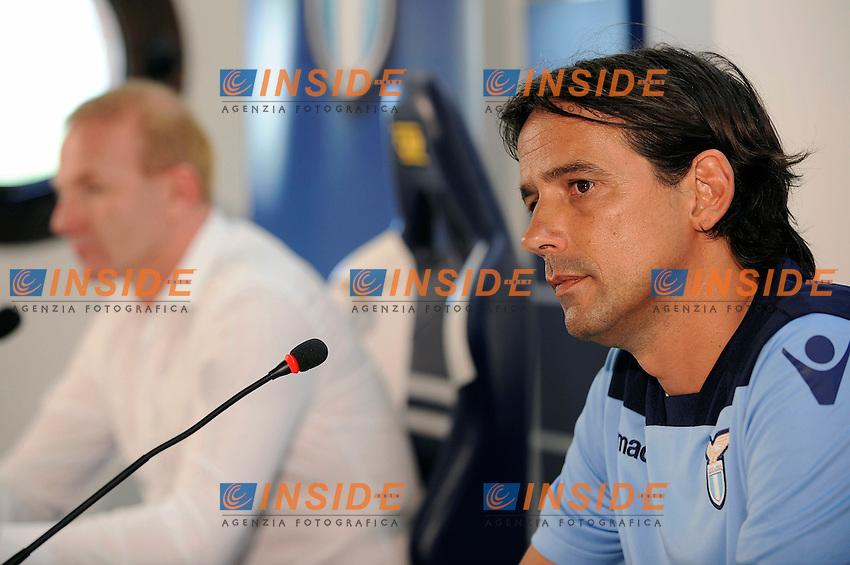 09 07 2016 Roma<br /> Conferenza stampa di presentazione dell'allenatore della Lazio <br /> New SS Lazio coach Simone Inzaghi <br /> nella foto Simone inzaghi e Igli Tare<br /> Foto Marco Rosi/Fotonotizia/Insidefoto