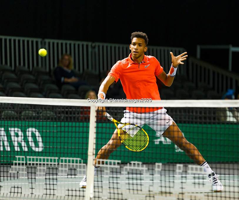 Rotterdam, The Netherlands, 9 Februari 2020, ABNAMRO World Tennis Tournament, Ahoy, Doubles: Felix Auger-Aliassime (CAN).<br /> Photo: www.tennisimages.com