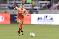Houston, TX - Friday April 29, 2016: Cami Privett (23) of the Houston Dash brings the ball up the field against Sky Blue FC at BBVA Compass Stadium. The Houston Dash tied Sky Blue FC 0-0.