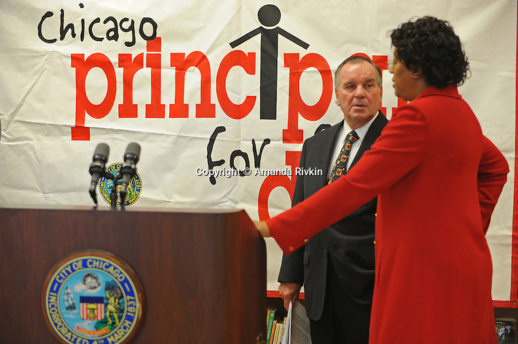"Chicago Mayor Richard M. Daley is seen before a press conference for his ""Principal for a Day"" program of corporate sponsorship and volunteerism in the Chicago Public Schools at Talcott Elementary School, 1840 W. Ohio St., in Chicago, Illinois on October 17, 2008."