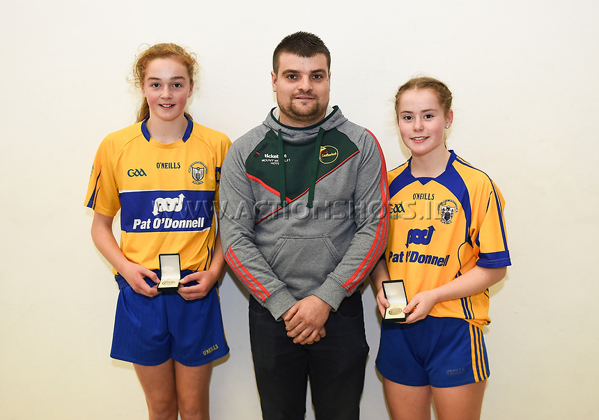 15/10/2017; All-Ireland Handball 60x30 Juvenile Finals; Garryhill Handball Club, Co Carlow;<br /> Girls Under-14 Doubles, Mayo&rsquo;s Hazel Finn and Lucy Brennan vs Chloe Philpott and Ellen Casey of Clare.<br /> Photo Credit: actionshots.ie/Tommy Grealy