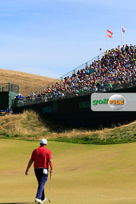 Patrick Reed (USA) on the 9th green during Saturday's Round 3 of the 2015 U.S. Open 115th National Championship held at Chambers Bay, Seattle, Washington, USA. 6/21/2015.<br /> Picture: Golffile | Eoin Clarke<br /> <br /> <br /> <br /> <br /> All photo usage must carry mandatory copyright credit (&copy; Golffile | Eoin Clarke)