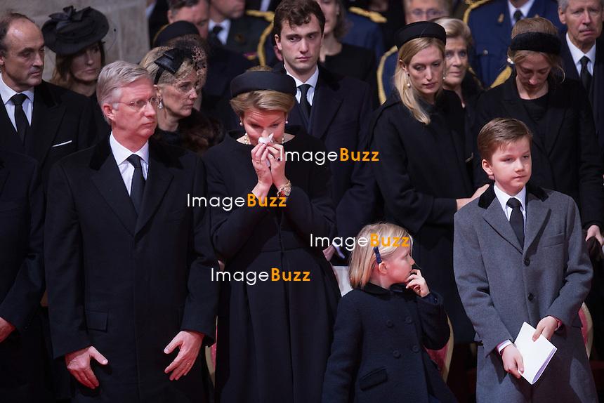 Fun&eacute;railles de la Reine Fabiola de Belgique, en la cath&eacute;drale des Saints Michel et Gudule &agrave; Bruxelles.<br /> Belgique, Bruxelles, 12 d&eacute;cembre 2014.<br /> Funerals of the Queen Fabiola of Belgium at the Saints Michel et Gudule Cathedral in Brussels. Queen Fabiola de Mora y Aragon, widow of Belgian King Baudouin, passed away on Friday 5 December at the age of 86. <br /> Belgium, Brussels, 12 December 2014.