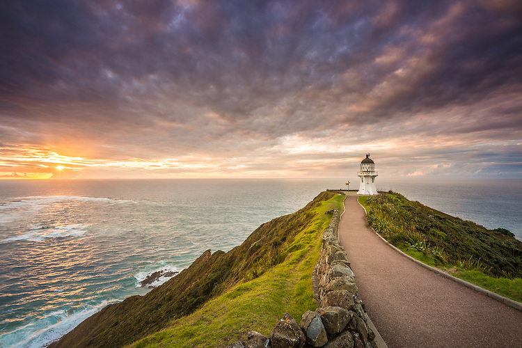 Cape Reinga Lighthouse, sunset,  Northland, New Zealand - stock photo, canvas, fine art print