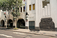 Entrance to the Art Deco building that houses the Museum of Popular Art, Mexico City. The Museo de Arte Popular, which opened in 2006, showcases folk art from all over Mexico.