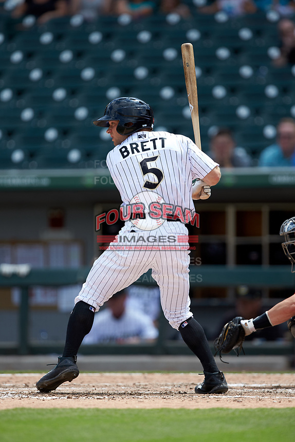 Ryan Brett (5) of the Charlotte Knights at bat against the Indianapolis Indians at BB&T BallPark on August 22, 2018 in Charlotte, North Carolina.  The Indians defeated the Knights 6-4 in 11 innings.  (Brian Westerholt/Four Seam Images)