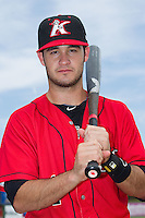 Eddy Alvarez (1) of the Kannapolis Intimidators poses for a photo prior to the game against the Greensboro Grasshoppers at CMC-NorthEast Stadium on August 31, 2014 in Kannapolis, North Carolina.  The Grasshoppers defeated the Intimidators 3-1.  (Brian Westerholt/Four Seam Images)