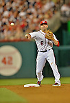 15 June 2012: Washington Nationals second baseman Danny Espinosa turns a double play against the New York Yankees at Nationals Park in Washington, DC. The Yankees defeated the Nationals 7-2 in the first game of their 3-game series. Mandatory Credit: Ed Wolfstein Photo