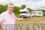 Castleisland Councillor Bobby O'Connell who is enraged after caravans and a mobile home moved into a site which has just after been cleaned up beside St Stephen's Park Castleisland on Wednesday