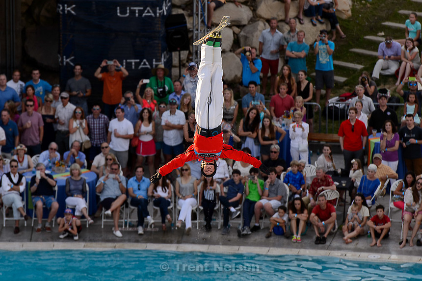 Trent Nelson  |  The Salt Lake Tribune<br /> A skier performs at the grand opening of the expanded Spence Eccles Olympic Freestyle Pool at Utah Olympic Park, Saturday June 27, 2015. The Eccles family donated $1 million to kick off a $3 million fundraising campaign to expand the pool and replace four old wooden jumps with seven metal jumps that have different lift-off angles suited to the various Winter Olympic sports disciplines.