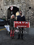 Local Residents Ann O'reilly and Daniel Lyons at the Protest at St Laurence Gate. Photo:Colin Bell/pressphotos.ie