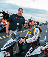 Aug 31, 2018; Clermont, IN, USA; NHRA funny car driver John Force (near) with Elon Werner during qualifying for the US Nationals at Lucas Oil Raceway. Mandatory Credit: Mark J. Rebilas-USA TODAY Sports