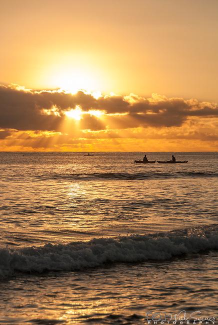 Local i-kiribati fishing offshore on the island Kiritimati in Kiribati