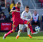 Real Salt Lake defender Shawn Barry (26)  and Los Angeles FC forward Diego Rossi (9) vie for the ball in the first half Saturday, March 10, 2018, during the Major League Soccer game at Rio Tiinto Stadium in Sandy, Utah. LAFC beat RSL 5-1. (© 2018 Douglas C. Pizac)