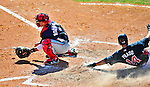 5 March 2010: Washington Nationals' catcher Ivan Rodriguez gets a late throw to the plate during a Spring Training game against the Atlanta Braves at Champion Stadium in the ESPN Wide World of Sports Complex in Orlando, Florida. The Braves defeated the Nationals 11-8 in Grapefruit League action. Mandatory Credit: Ed Wolfstein Photo