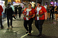Pictured: Christmas revellers in Santa tops in Wind Street, Swansea, Wales, UK. Friday 20 December 2019<br /> Re: Black Eye Friday (also known as Black Friday, Mad Friday, Frantic Friday) the last Friday before Christmas, in Swansea, Wales, UK.