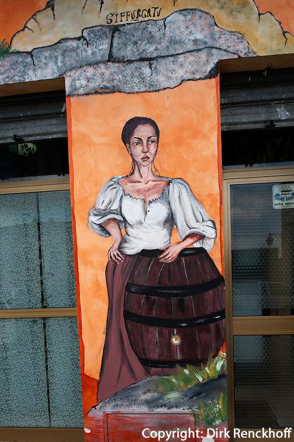 Murales in Lula, Provinz Nuoro Ost Sardinien, Italien