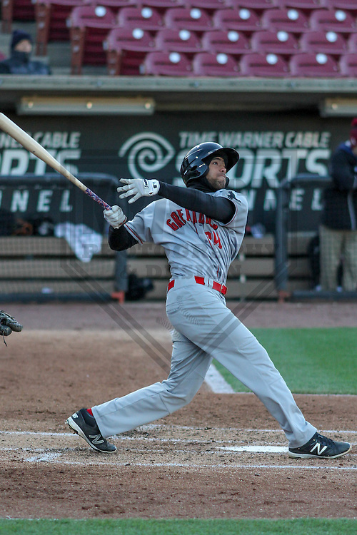 Great Lakes Loons outfielder Jordan Paroubeck (24) during a Midwest League game against the Wisconsin Timber Rattlers on April 26th, 2016 at Fox Cities Stadium in Appleton, Wisconsin.  Wisconsin defeated Great Lakes 4-3. (Brad Krause/Krause Sports Photography)