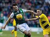 9th February 2019, Easter Road, Edinburgh, Scotland; Scottish Cup football fifth round, Hibernian versus Raith Rovers; Marc McNulty of Hibernian and Callum Crane of Raith Rovers compete for possession of the ball